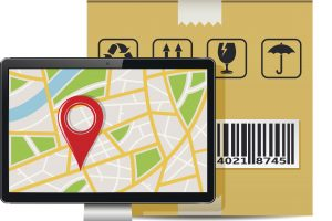 Computer display with GPS map and shipping box isolated on a white background. Vector illustration.